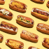 Variety Of Hot Dogs Pattern Background