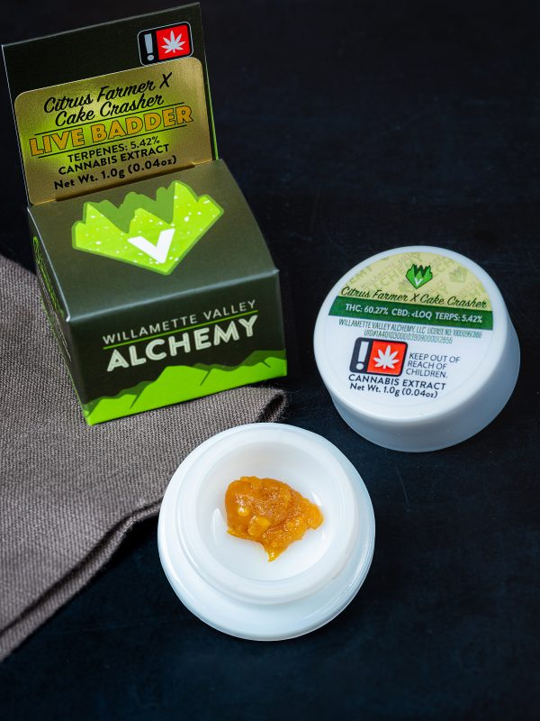 Willamette Valley Alchemy Citrus Farmer x Cake Crasher Live Badder Concentrate