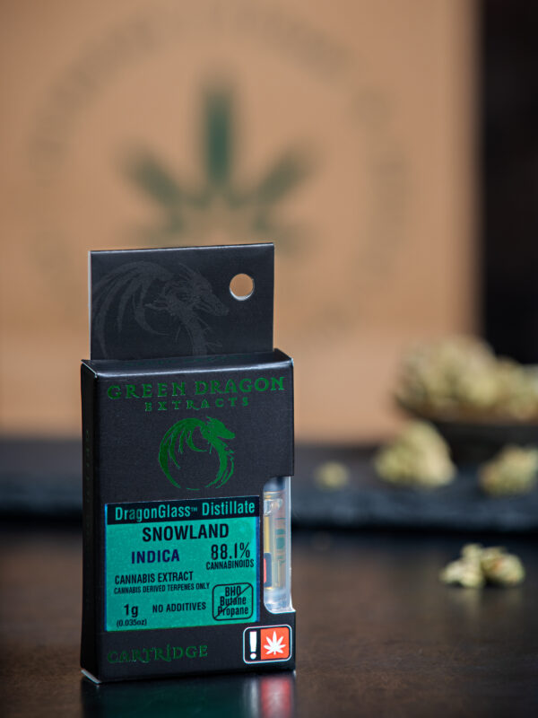 Green Dragon Snowland Indica Cannabis Vape Cartridge