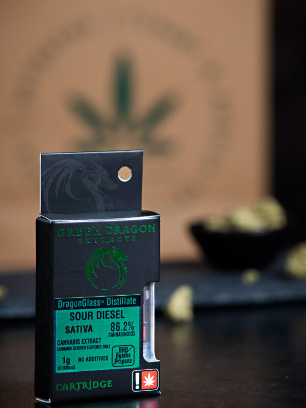 Green Dragon Sour Diesel Indica Cannabis Vape Cartridge