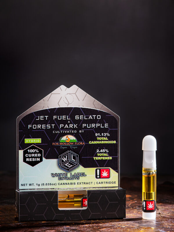 White Label Extracts Jet fuel Gelato plus Forest Park Purple cannabis vape cartridge