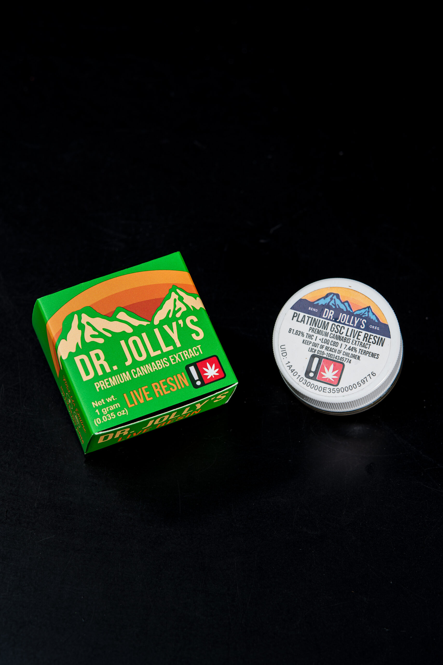 Dr. Jolly's Platinum GSC cannabis live resin packaging
