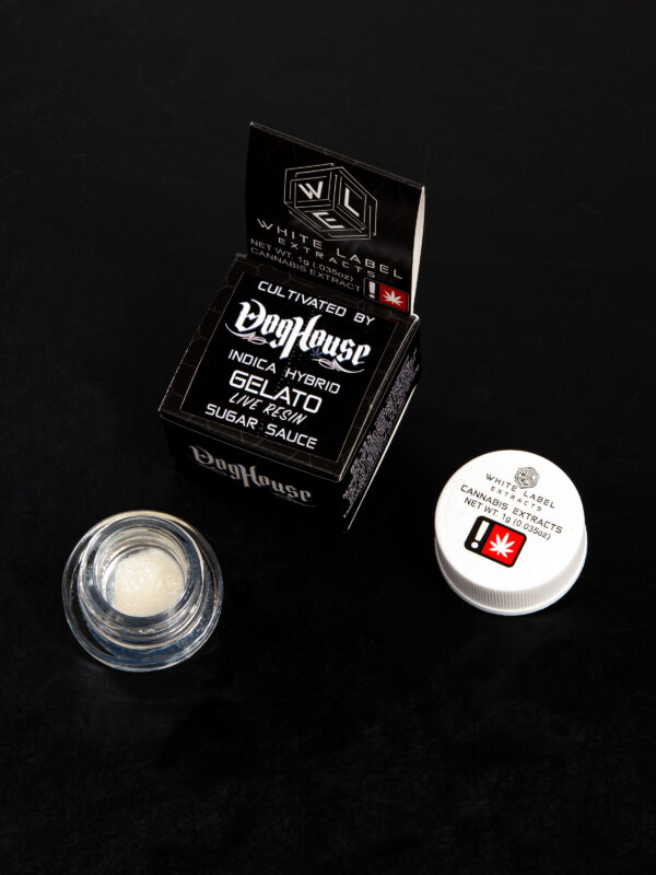 White Label Extracts Doghouse Hybrid Indica Gelato Live Resin Sugar Sauce